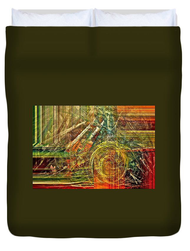 Abstract Duvet Cover featuring the mixed media Farming by Gwyn Newcombe