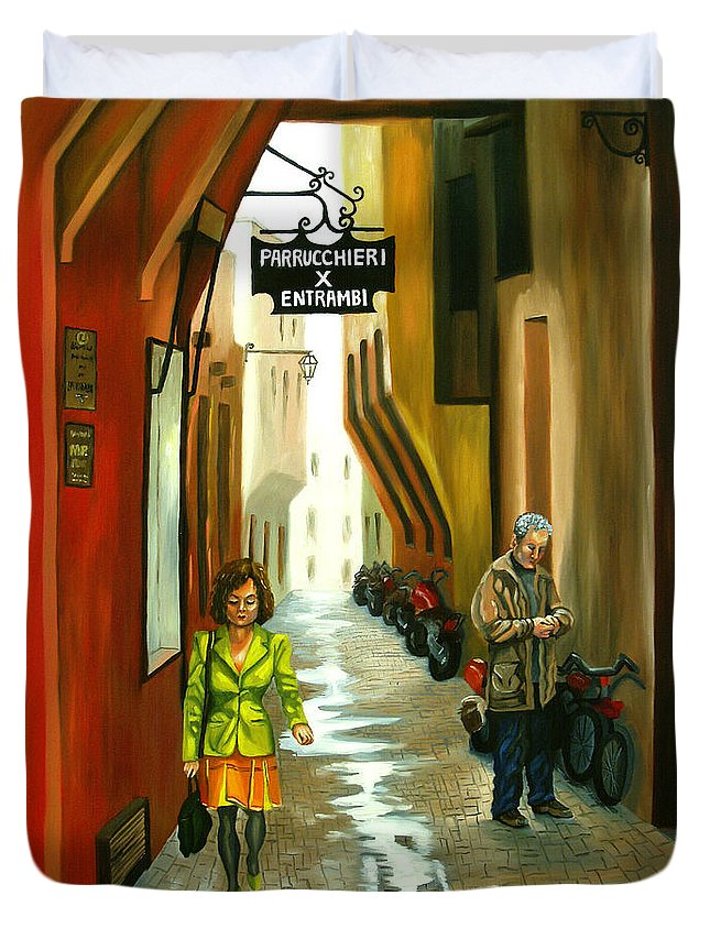 Portrait Duvet Cover featuring the painting Fashion Alley In Bologna by Milagros Palmieri