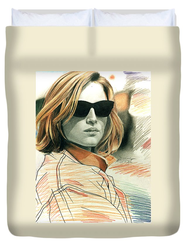Shaun Duvet Cover featuring the painting Fashion Illustration by Shaun McNicholas