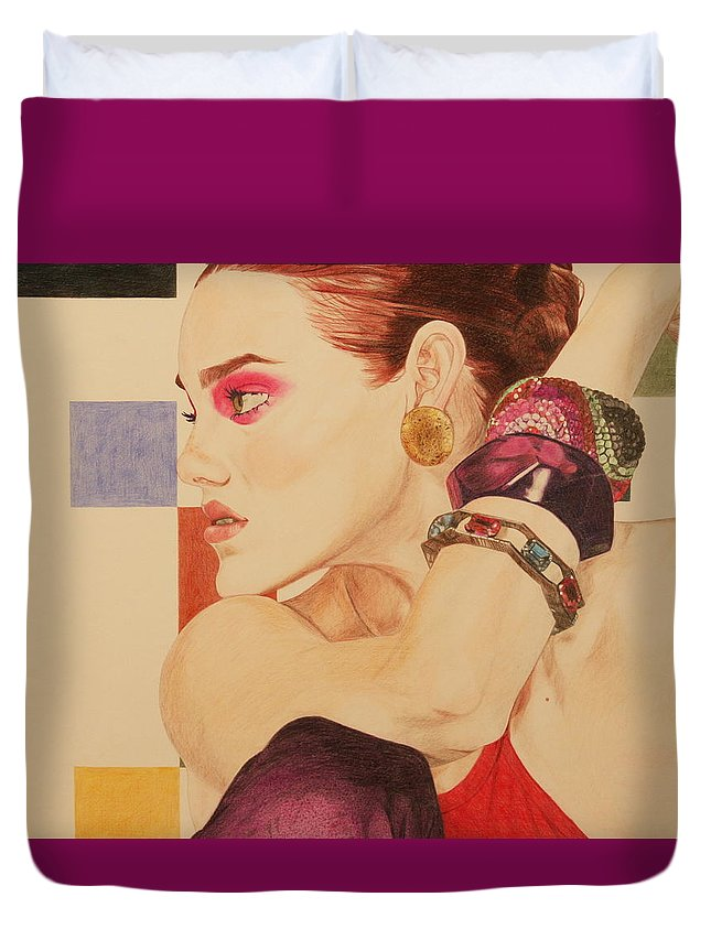 Girl Duvet Cover featuring the drawing Fashion Model by Michelle Miron-Rebbe