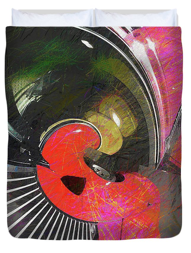 Abstract Duvet Cover featuring the digital art Fast And Furious by Linda Dunn