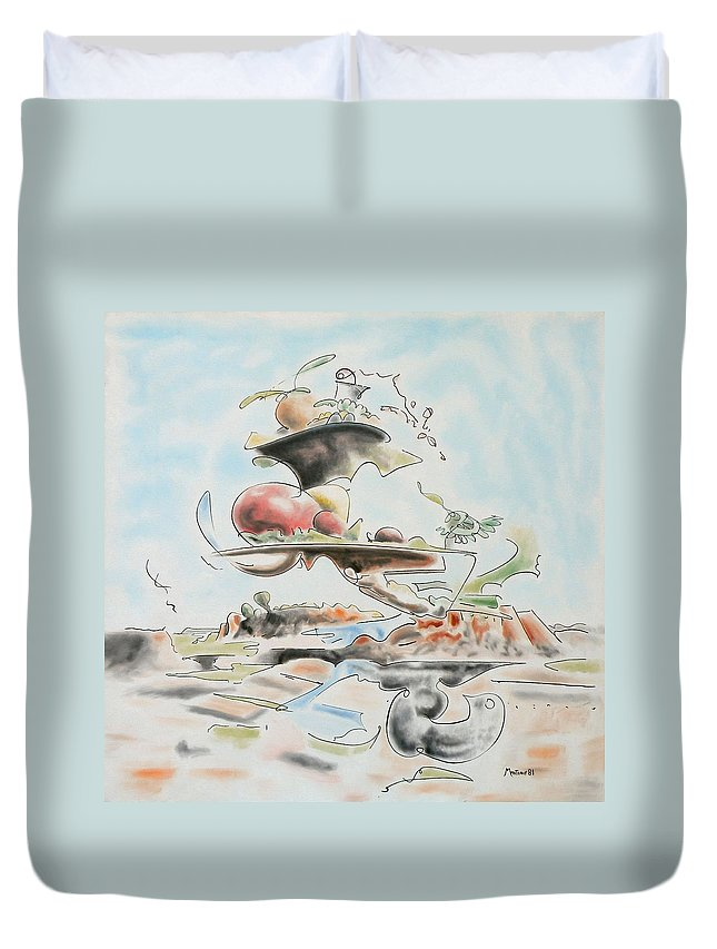 Abstract Duvet Cover featuring the painting Fast Food by Dave Martsolf