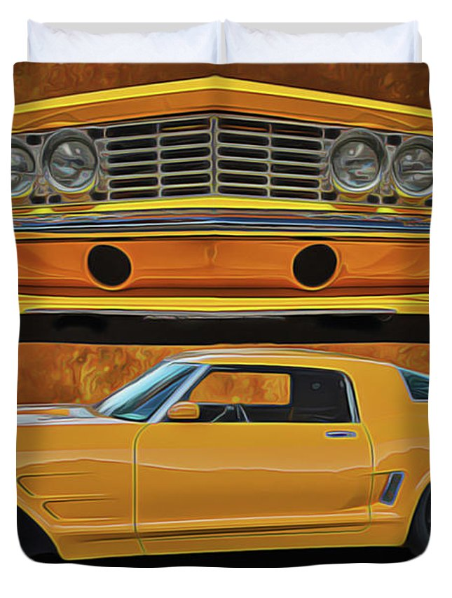 Performance Car Duvet Cover featuring the painting Fast Yellow by Harry Warrick