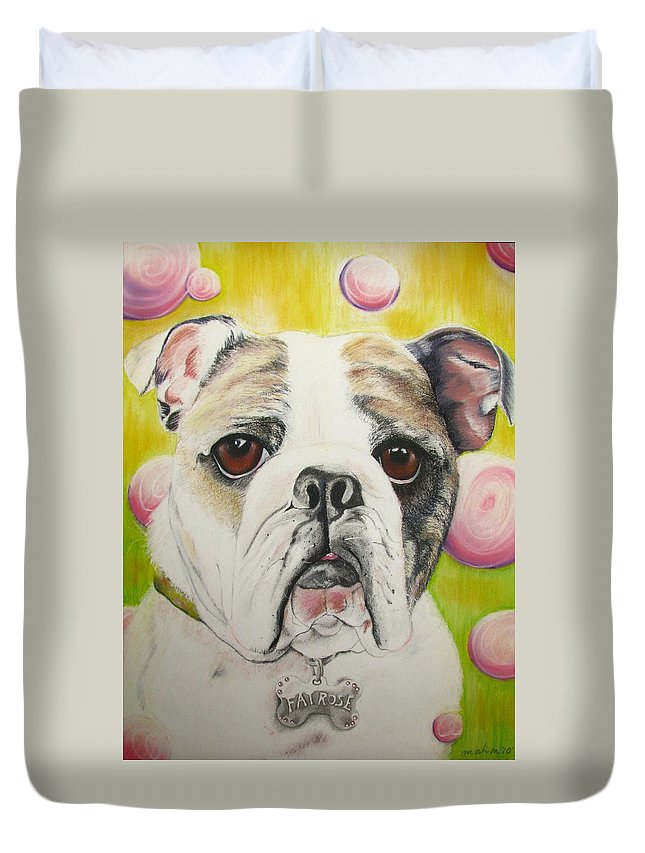 Dog Painting Duvet Cover featuring the pastel Fat Rose by Michelle Hayden-Marsan