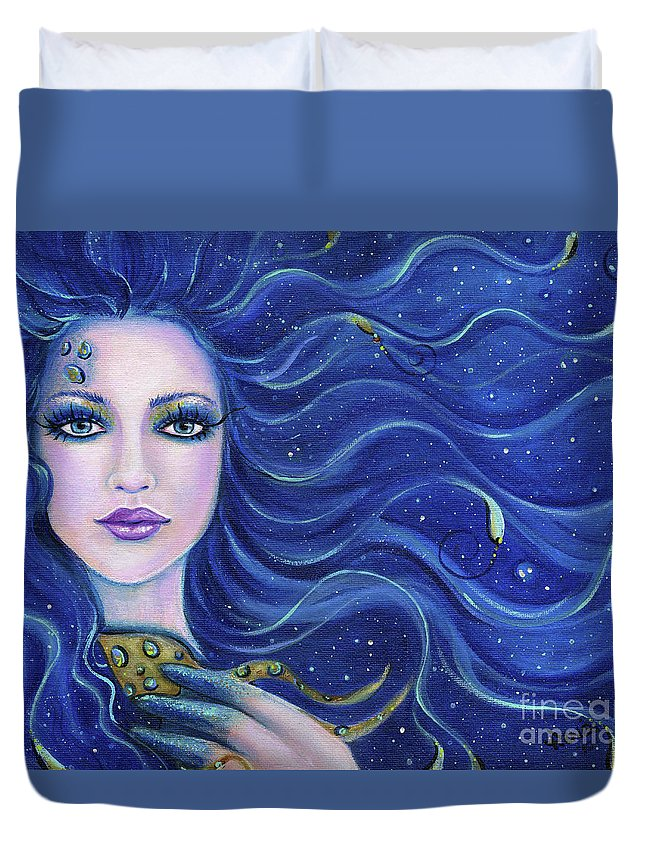 Mermaid Duvet Cover featuring the painting Fatal Beauty Mermaid Art by Renee Lavoie