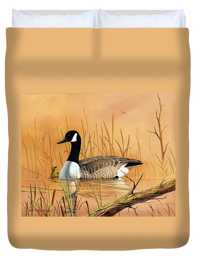 Duck Duvet Cover featuring the painting Father And Son by Don Griffiths
