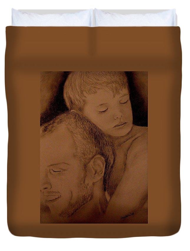 Portrait Duvet Cover featuring the painting Father And Son by Glory Fraulein Wolfe