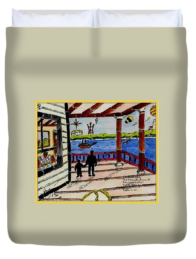 Boy Duvet Cover featuring the painting Father And Son On The Porch by Anthony Benjamin