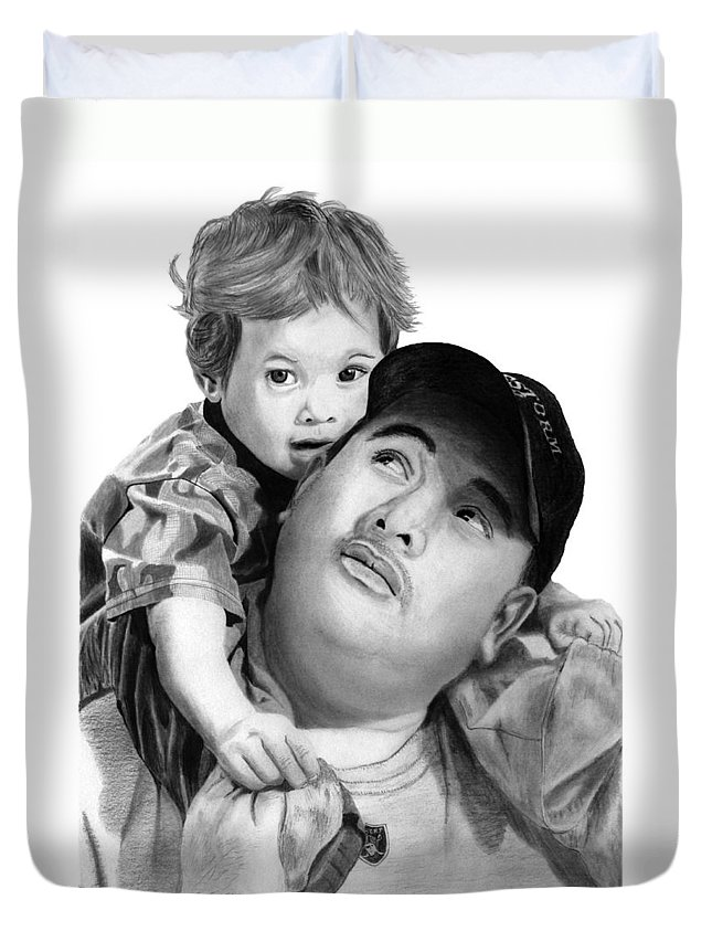 Father And Son Duvet Cover featuring the drawing Father And Son by Peter Piatt