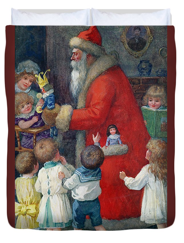 Father Christmas With Children By Karl Roger (b.1879) Duvet Cover featuring the painting Father Christmas With Children by Karl Roger