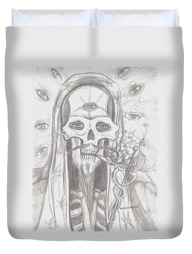 Skeleton.eyes Duvet Cover featuring the drawing Father Health And Wisdom by Americo Salazar