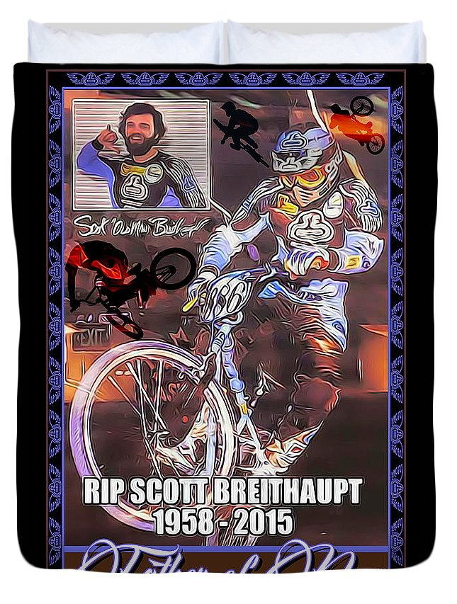 Duvet Cover featuring the digital art Father Of Bmx by Michael Drake