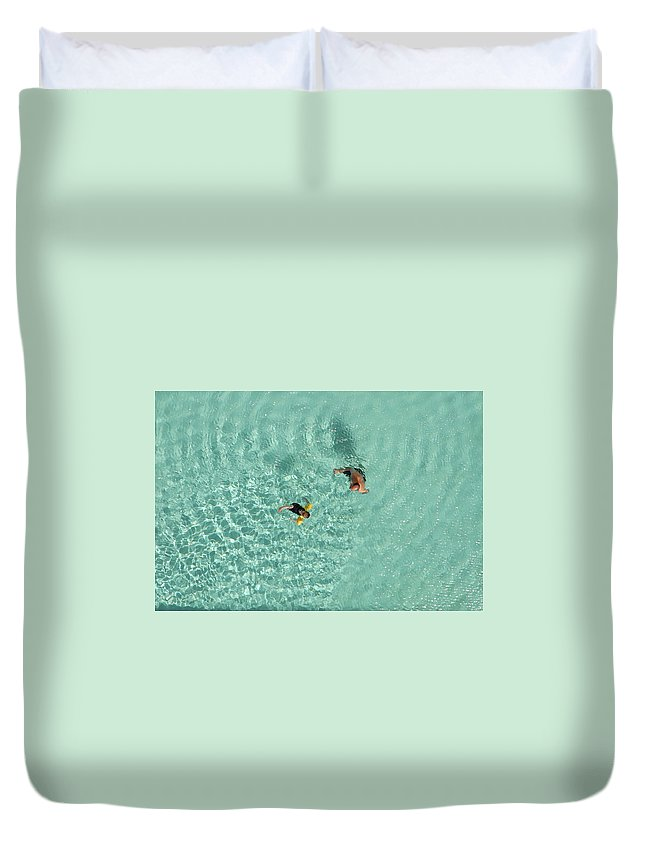 Water Wind Aqua Above Father Son Pool Duvet Cover featuring the photograph Pool Day by Original Digital
