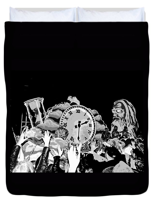 Computer Graphics Duvet Cover featuring the photograph Father Time In Black And White by Marian Bell