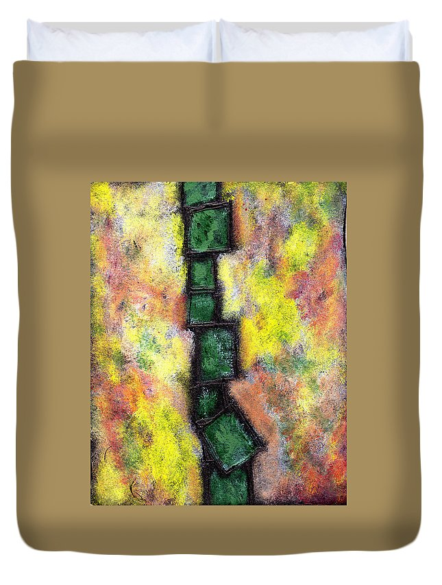 Abstract Duvet Cover featuring the painting Faux Tile Two by Wayne Potrafka