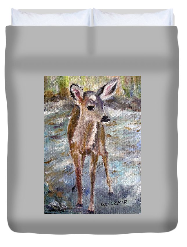 Fawn Duvet Cover featuring the painting Fawn by Olga Kaczmar