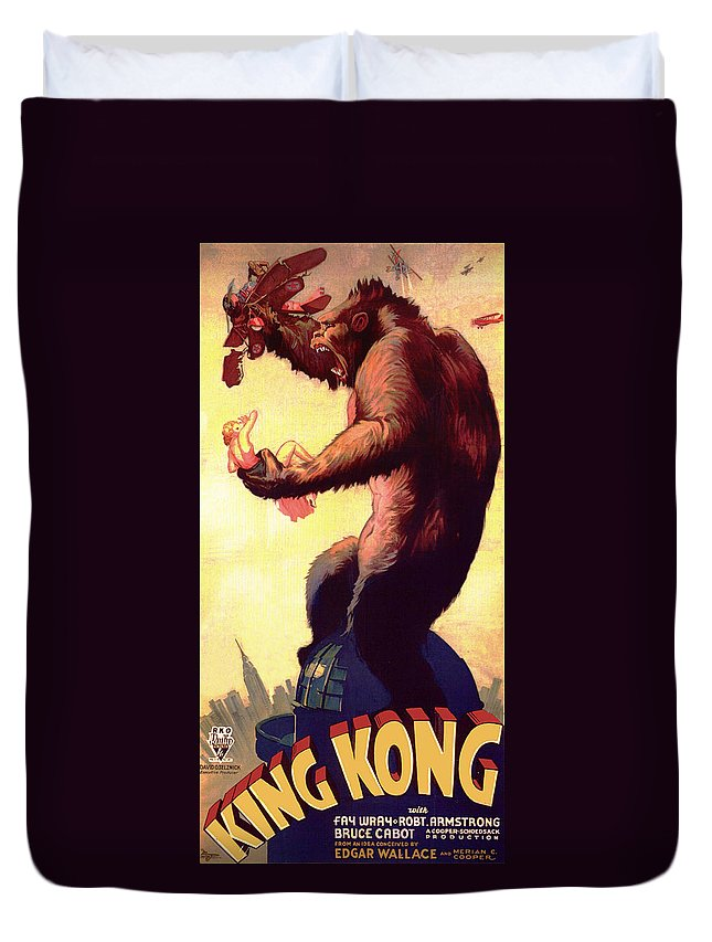 Movie Duvet Cover featuring the mixed media Fay Wray In King Kong 1933 by Mountain Dreams