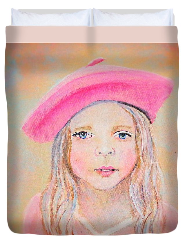 French Girl Duvet Cover featuring the painting Fayanna Little French Angel Of Trust by The Art With A Heart By Charlotte Phillips