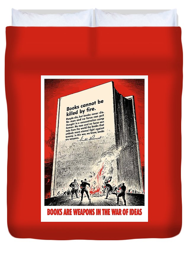 Book Burning Duvet Cover featuring the painting Fdr Quote On Book Burning by War Is Hell Store