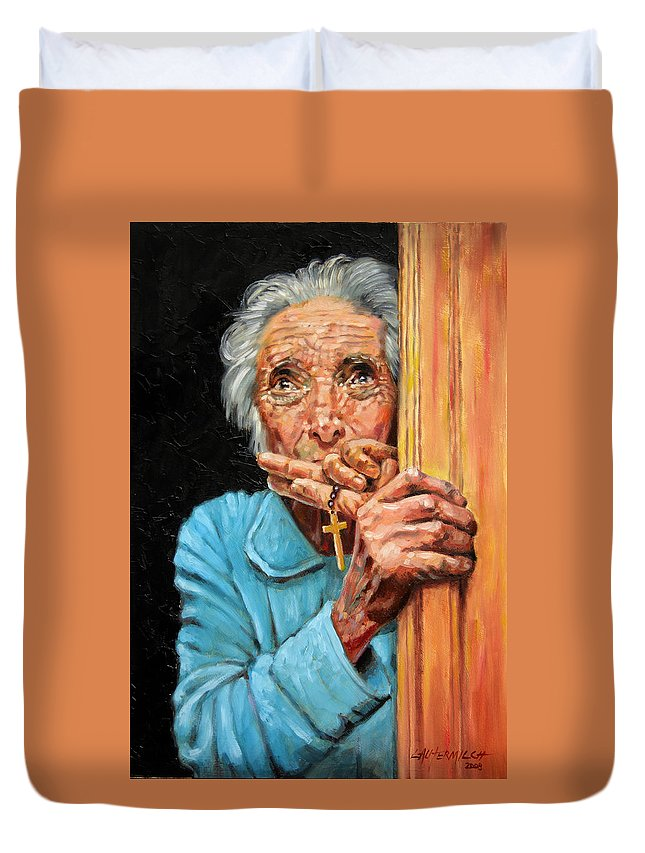 Old Woman Duvet Cover featuring the painting Fear And Faith by John Lautermilch
