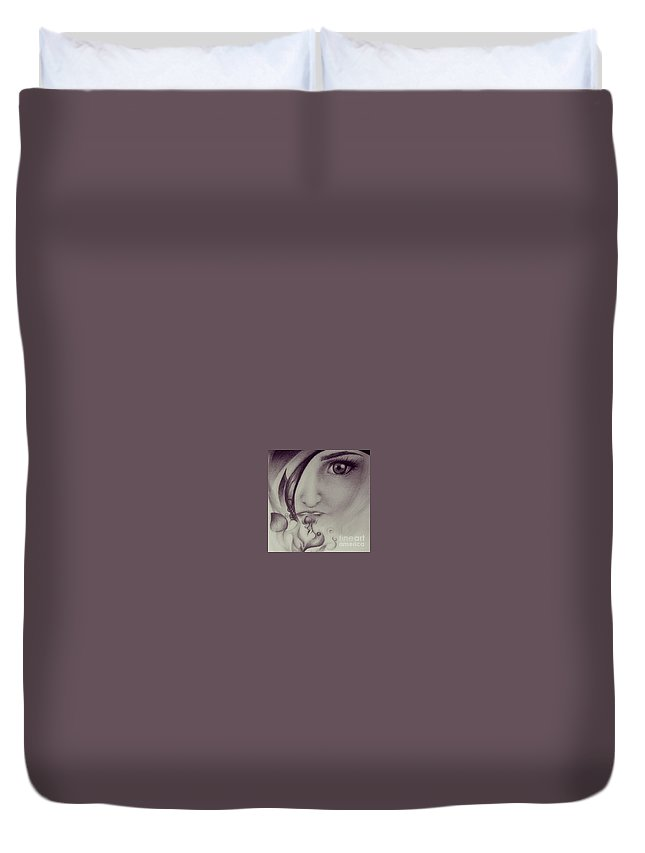 Drawings Art Eyes Face Stare Flower Soulful Duvet Cover featuring the drawing Fear by Christina -