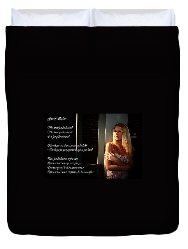 Clay Duvet Cover featuring the photograph Fear Of Shadows by Clayton Bruster