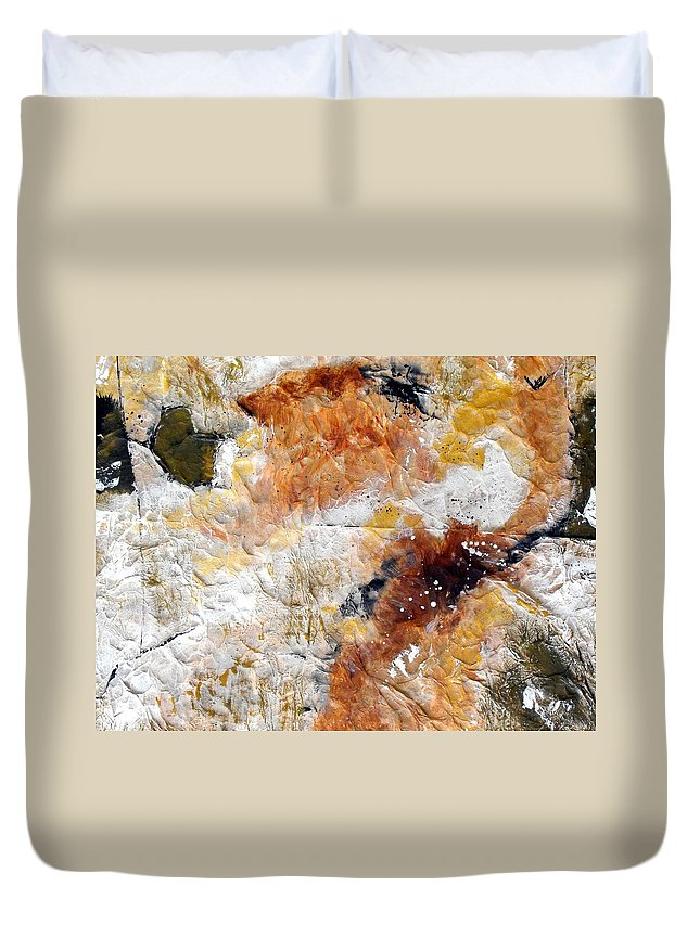 Abstract Duvet Cover featuring the painting Fear Of The Unknown Close-up by Ruth Palmer