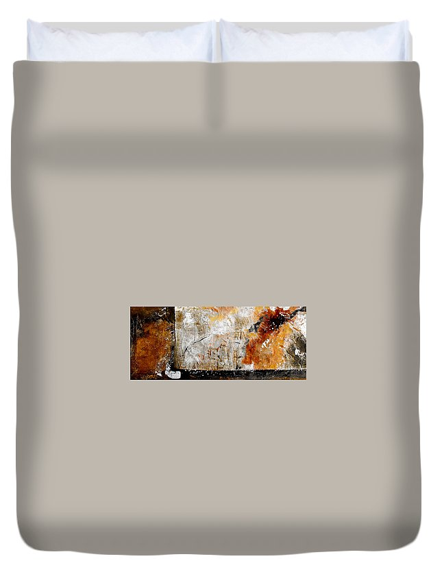 Abstract Duvet Cover featuring the painting Fear Of The Unknown by Ruth Palmer