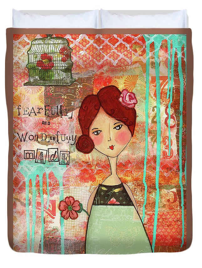 Whimsical Duvet Cover featuring the mixed media Fearfully And Wonderfully Made by Michelle Thompson