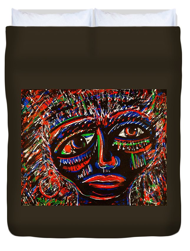 Expressionism Duvet Cover featuring the painting Fearless by Natalie Holland