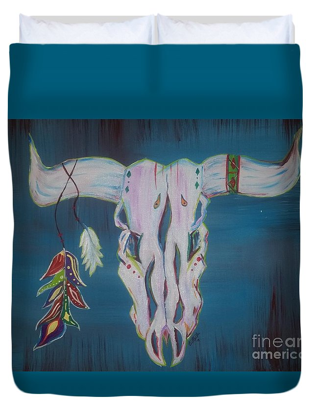 Bull Skull Duvet Cover featuring the painting Feather Bull Skull by Anna Mendoza