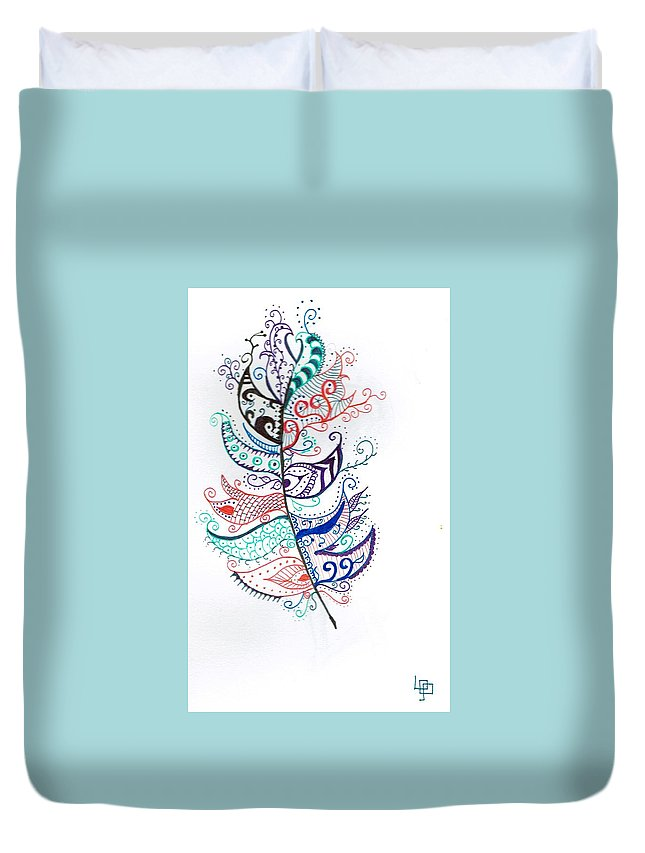 Feather Duvet Cover featuring the drawing Feather by Lorna Lowe