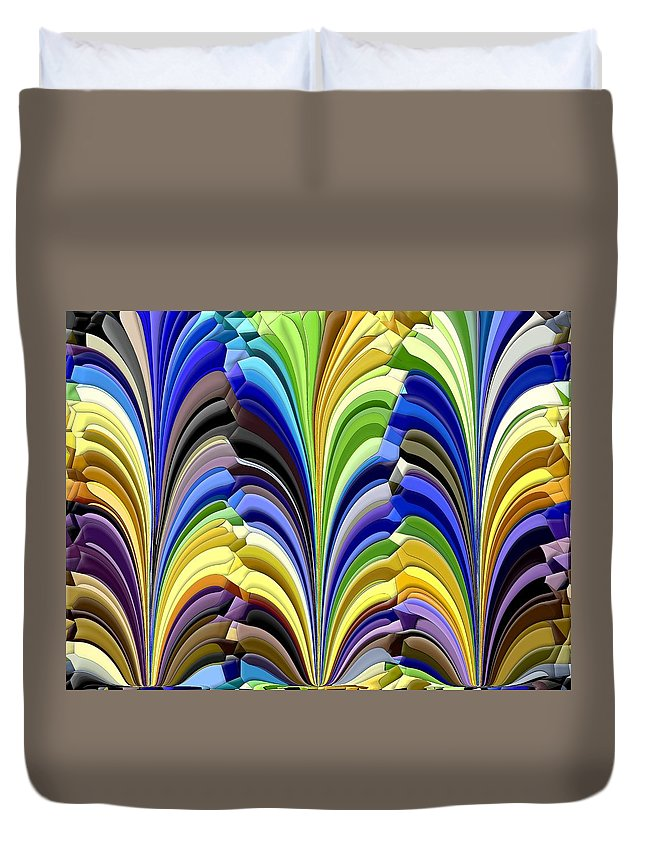 Abstract Duvet Cover featuring the digital art Feathered Friends by Tim Allen
