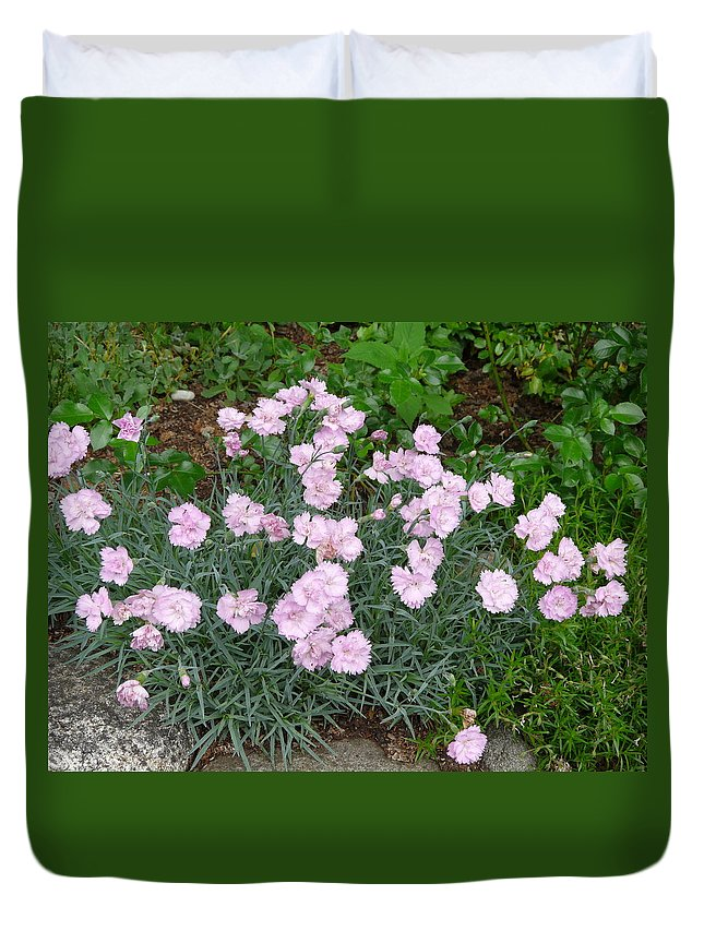 Flower Duvet Cover featuring the photograph Feathered Pink by Valerie Ornstein