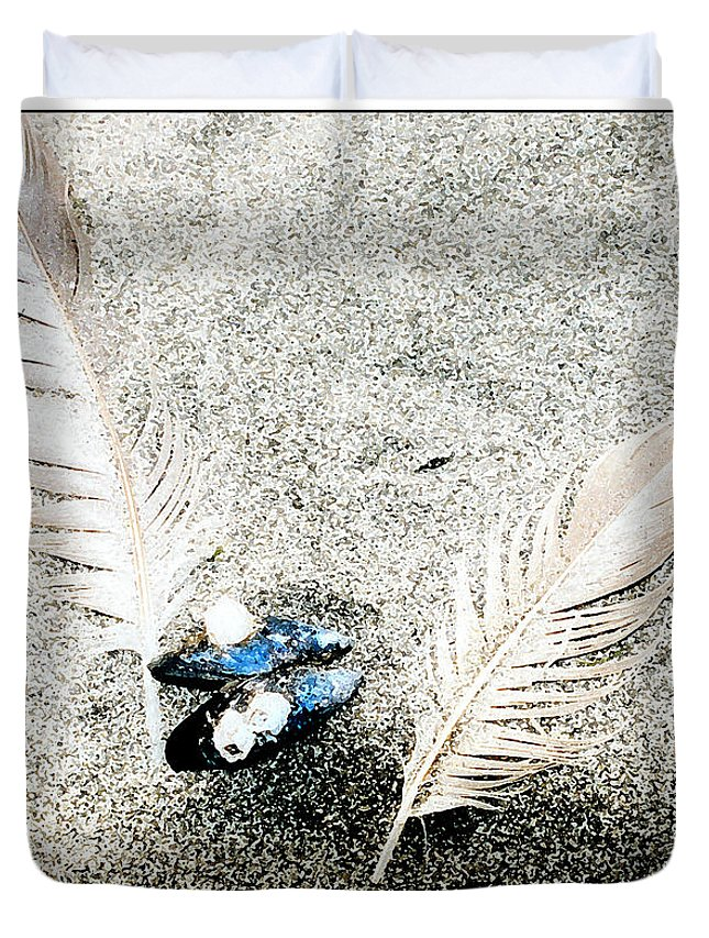Beach Duvet Cover featuring the digital art Feathers And Mussel by Michelle Bush