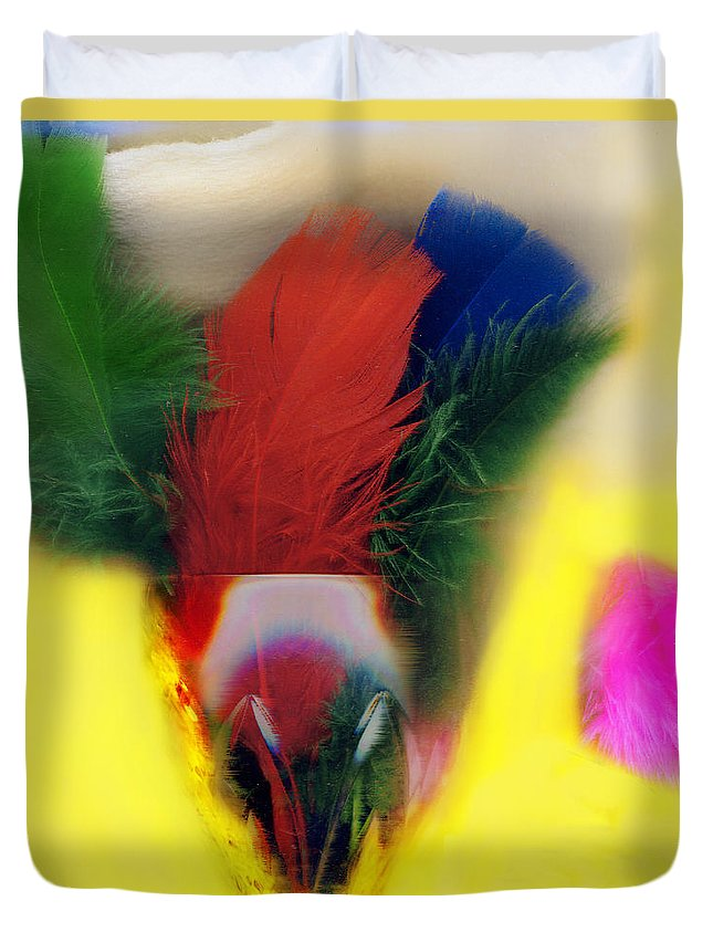 Feather Duvet Cover featuring the digital art Feathers In Wine Glass by Madeline Ellis