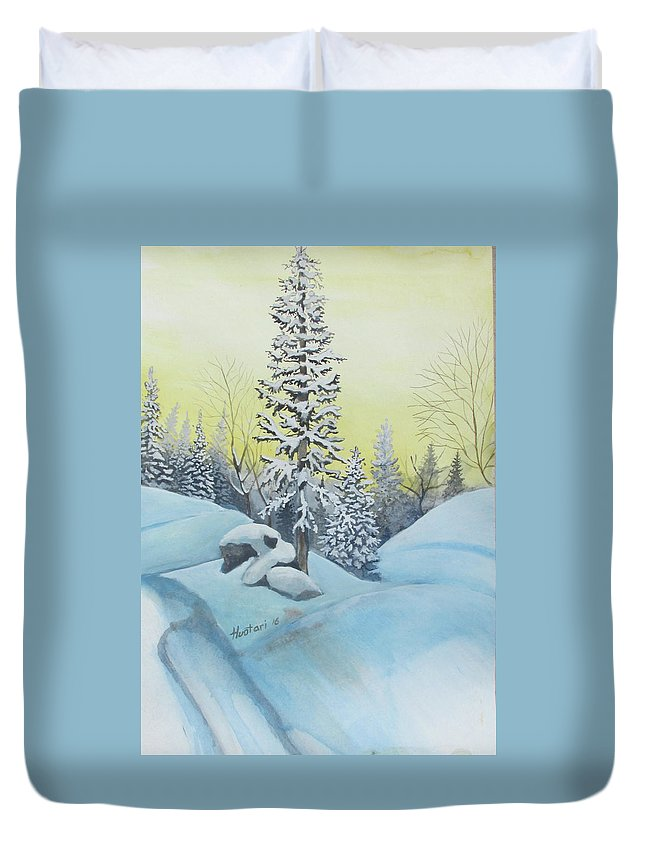 Winter Duvet Cover featuring the painting February Morning by Rick Huotari