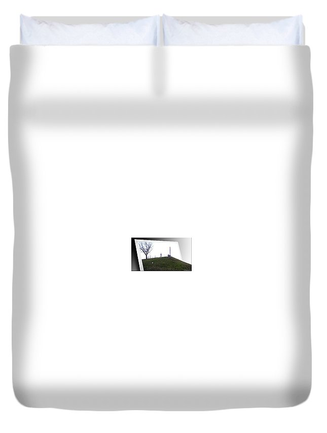 2d Duvet Cover featuring the photograph Federal Hill Dog by Brian Wallace