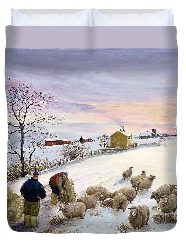Feeding Sheep In Winter Duvet Cover For Sale By Margaret Loxton