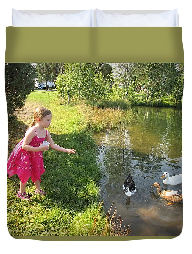 Farm Duvet Cover featuring the photograph Feeding The Ducks by Daneille Kitchel