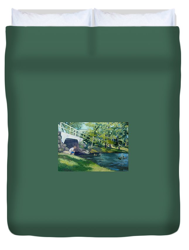 Pond At Bradford College Duvet Cover featuring the painting Feeding The Ducks by Leslie Alfred McGrath