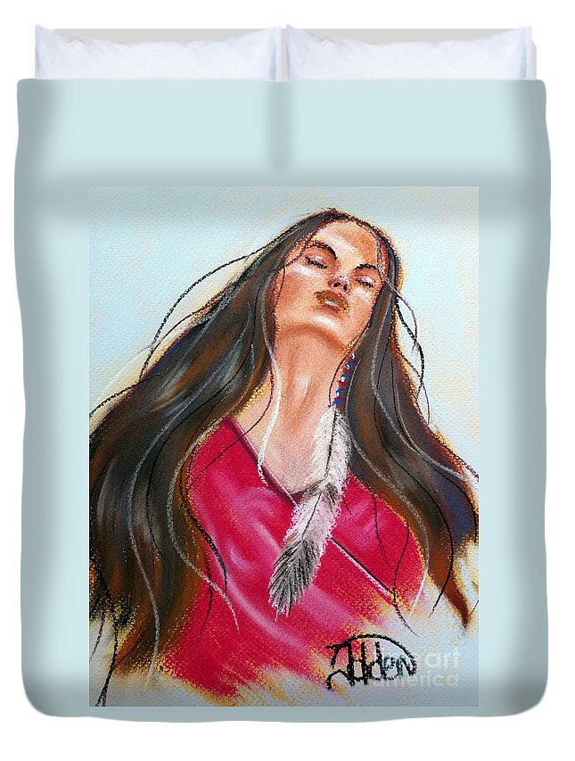 Dream Duvet Cover featuring the pastel Feeling The Spirit by Jo Hoden