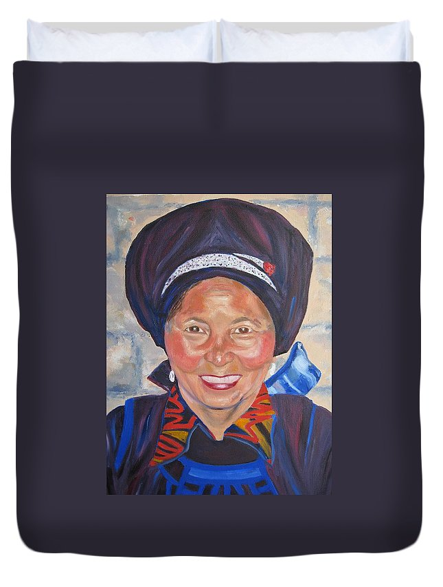 Portrait Duvet Cover featuring the painting Fellow Traveller Great Wall by Lisa Boyd