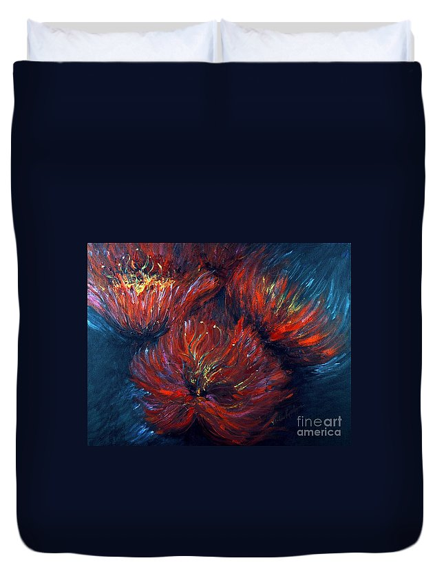 Abstract Duvet Cover featuring the painting Fellowship by Nadine Rippelmeyer