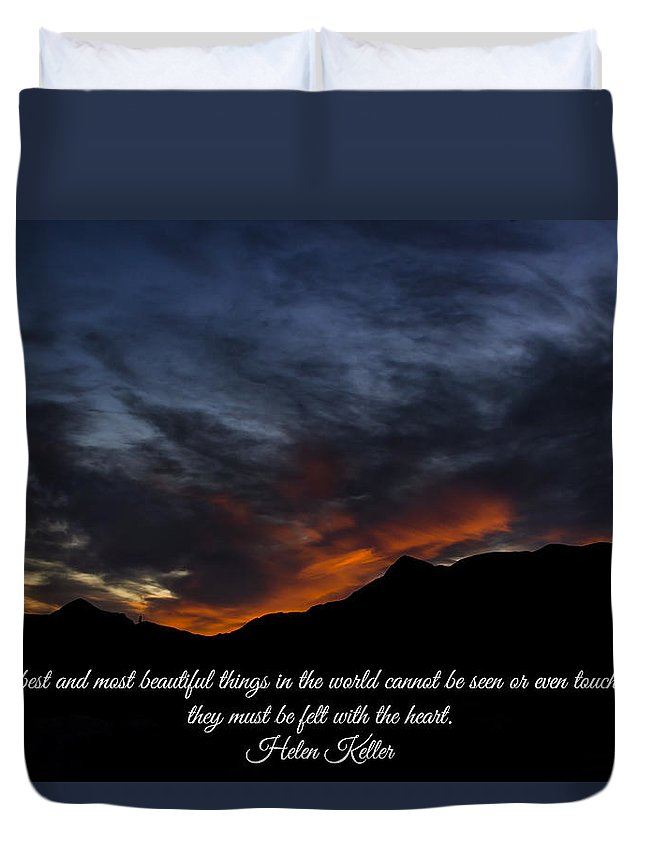 Sunset Duvet Cover featuring the photograph Felt By The Heart by Steve Purifoy