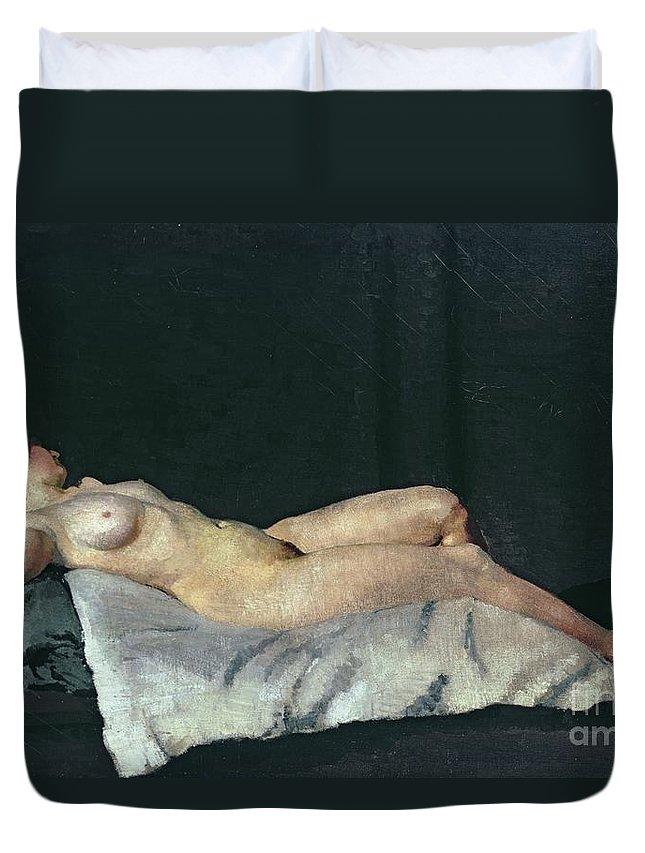 Female Figure Lying On Her Back Duvet Cover featuring the painting Female Figure Lying On Her Back by Dora Carrington