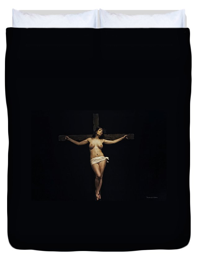 Woman Duvet Cover featuring the photograph Female Jesus by Ramon Martinez