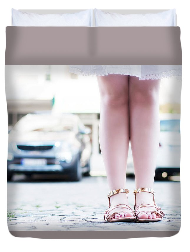 Blond Duvet Cover featuring the photograph Female Legs Wearing Sandals by Newnow Photography By Vera Cepic