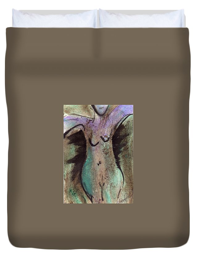 Nude Duvet Cover featuring the painting Female Nude Torso 1 by Wayne Potrafka