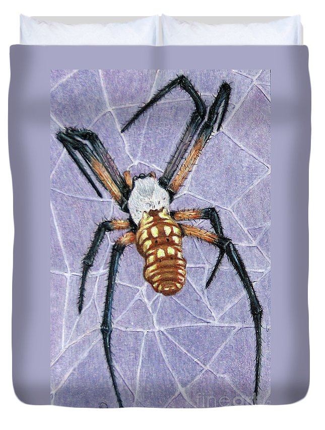 Fuqua - Artwork Duvet Cover featuring the drawing Female Orb Spider by Beverly Fuqua